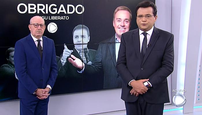 Geraldo Luís e Renato Lombardi no Balanço Geral, que foi líder de audiência com Gugu (Foto: Reprodução/Record)