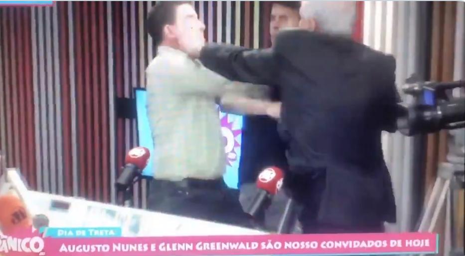 O jornalista Glenn Greenwald foi agredido pelo jornalista Augusto Nunes que não soube dialogar e resolveu partir para a ignorância (Foto: Reprodução/ Jovem Pan)