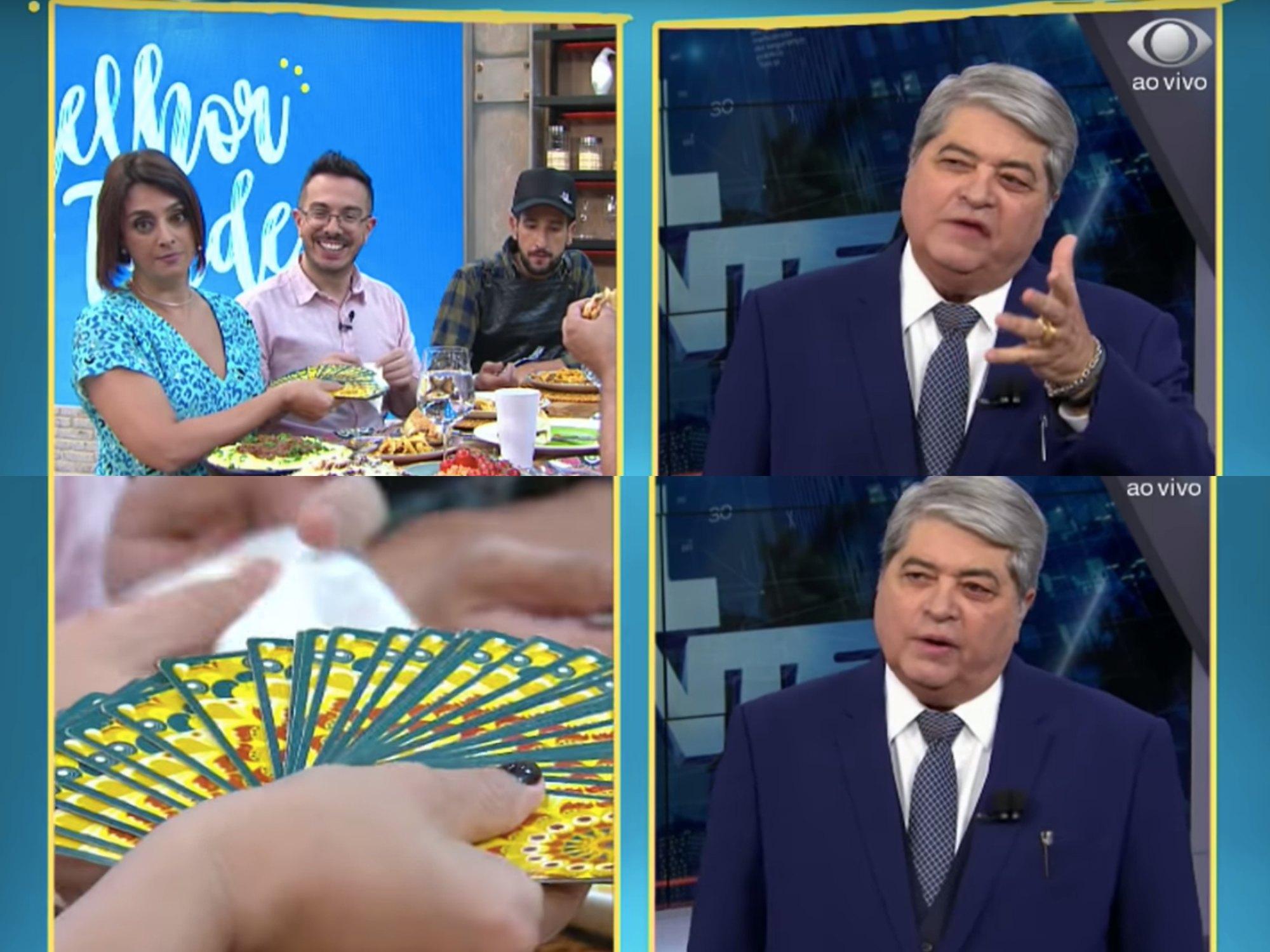 Catia Fonseca e André Mantovanni tiram carta para Datena. Foto: Reprodução