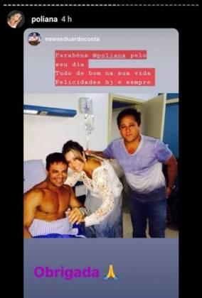Eduardo Costa surge em hospital ao lado de Poliana Rocha e o esposo Leonardo, a foto foi tirada em 2013 (Imagem: Instagram)