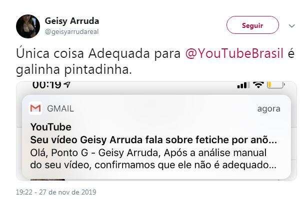 Geisy Arruda tem vídeo censurado após admitir fetiche em anões. Foto: Reprodução/Twitter