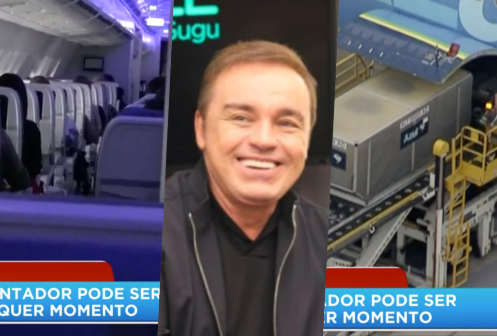 Record mostrou ao vivo imagens de Gugu Liberato chegando ao Brasil (Foto reprodução)