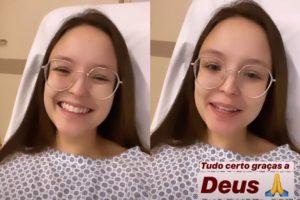 Larissa Manoela faz primeira aparição após cirurgia nesta terça (Foto: Reprodução)
