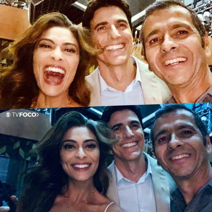 Marcos Palmeira, Reynaldo Gianecchini e Juliana Paes nos bastidores de A Dona do Pedaço