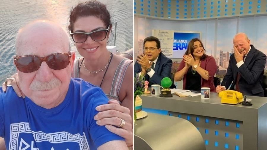 Renato Lombardi chora com depoimento da namorada durante o programa da Record TV Balanço Geral apresentado por Geraldo Luís e com a presença da jornalista Fabíola Reipert (Foto: Record)