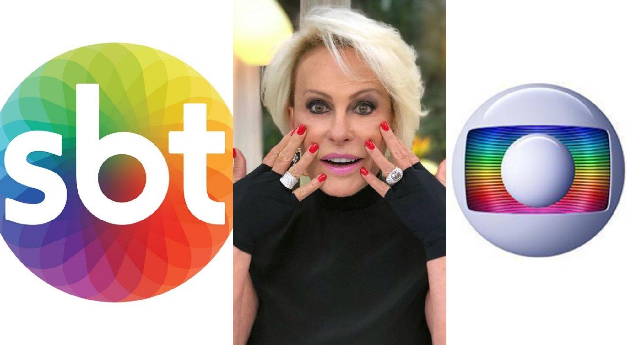 Logo SBT, Ana Maria Braga e logo Globo. Foto: Reprodução Audiência, Audiências