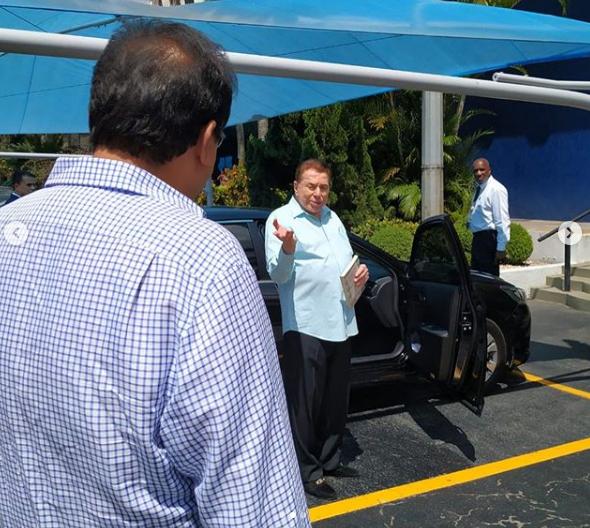 Geraldo Luís e Silvio Santos se encontraram neste sábado (23 no SBT (Foto: Reprodução)
