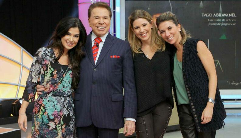 Silvio Santos e as filhas, Renata Abravanel, Daniela e Rebeca (Foto: Reprodução/SBT)