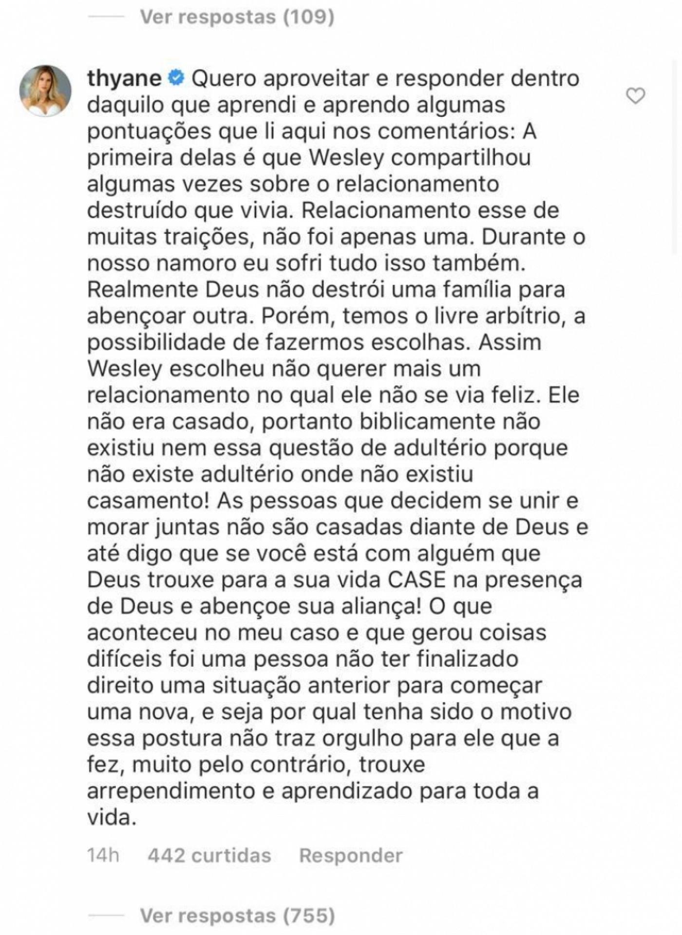 Thyane Dantas falou sobre a separação de wesley Safadão e Mileide Mihaile (Foto: Reprodução/ Instagram)