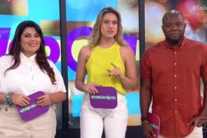 Fabiana Karla, Fernanda Gentil e Érico Brás no comando do Se Joga, que foi líder de audiência (Foto: Reprodução/Globo)