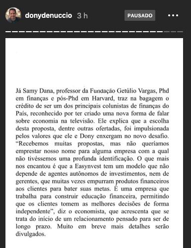 Samy Dana, Fernando Miranda e Dony de Nuccio (Easynvest:Divulgação)