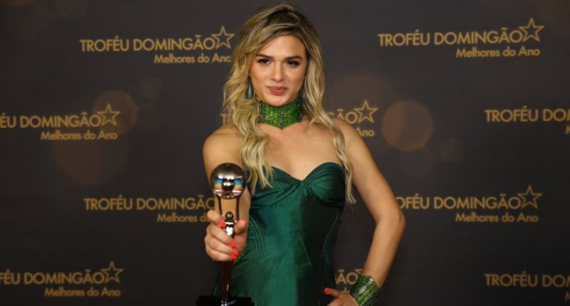 globo Atriz trans Glamour Garcia quando venceu como atriz revelação. Foto: Reprodução Globo