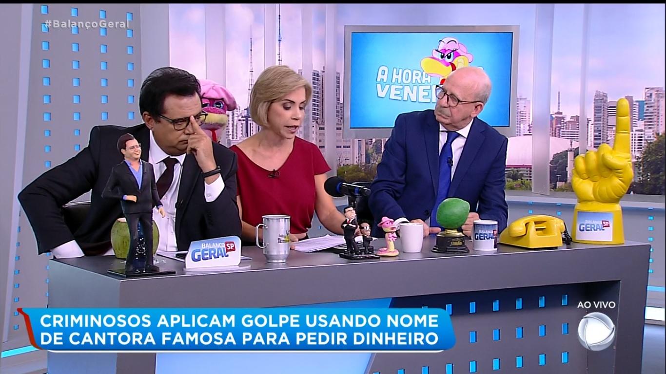 Keila Jimenez apresenta A Hora da Venenosa ao lado de Geraldo Luís e Renato Lombardi (Imagem: Reprodução)