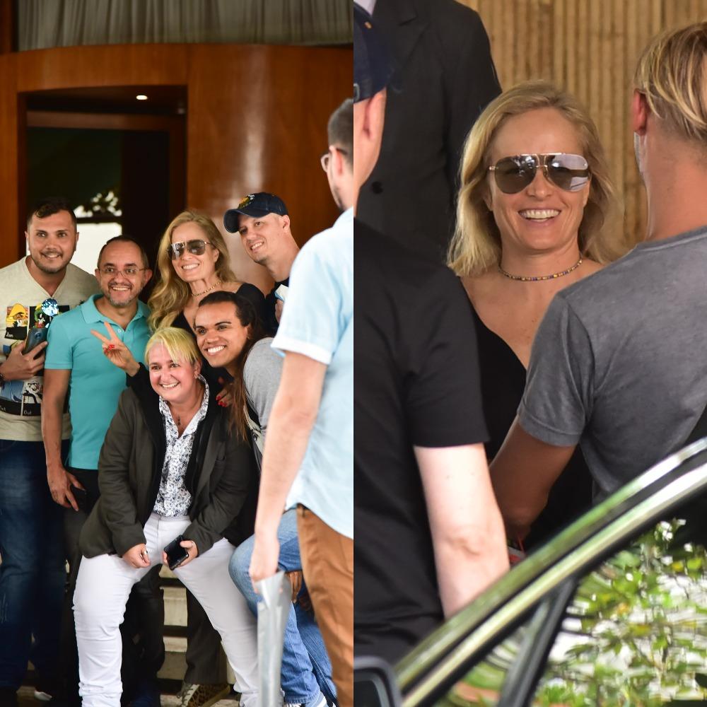 Angélica com seus admiradores na porta de um hotel em São Paulo (Foto: Marcelo Sá Barretto/AgNews)