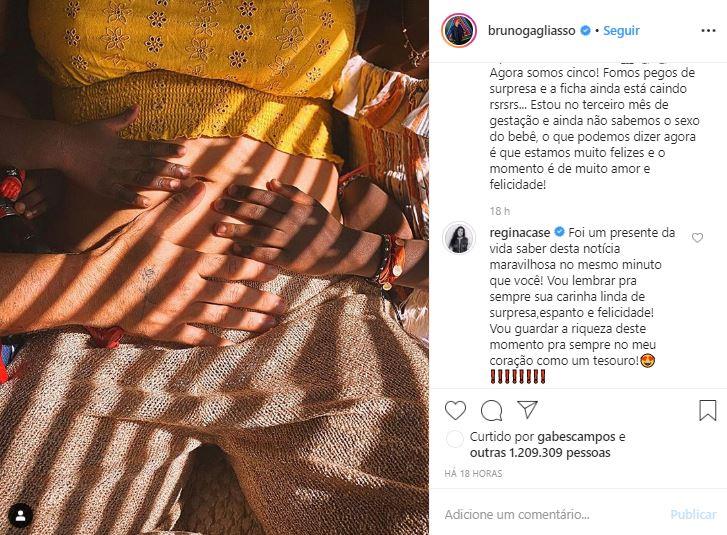 Regina Casé da detalhes surreais sobre a gravidez do ex-ator da Globo, Bruno e Gioavanna Ewbank (Foto: Reprodução/Instagram)