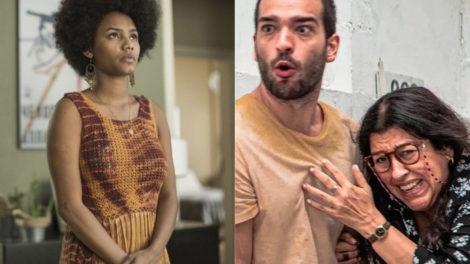 Camila (Jéssica Ellen) não gosta de saber que Lurdes (Regina Casé) está indo se encontrar com Sandro (Humberto Carrão) em Amor de Mãe da Globo (Foto: Montagem/TV Foco)