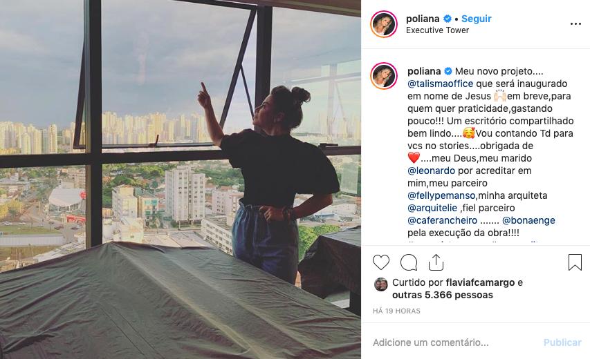 Poliana Rocha mostra novo projeto e agradece a Leonardo pelo apoio. Foto: Reprodução
