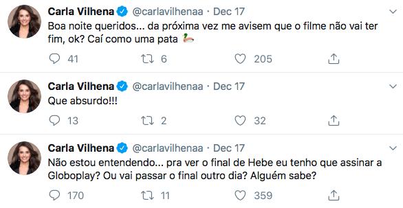 Carla Vilhena, Hebe, Globoplay, Globo