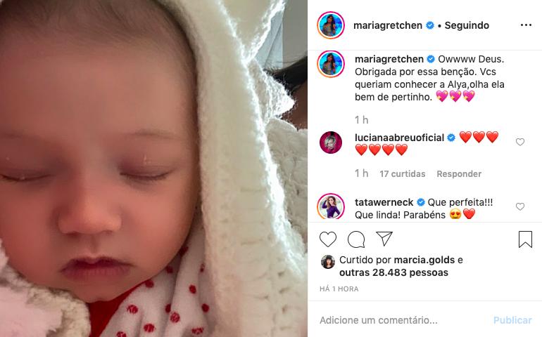 Gretchen causa alvoroço nas redes sociais ao publicar foto de neta recém nascida. Foto: Reprodução
