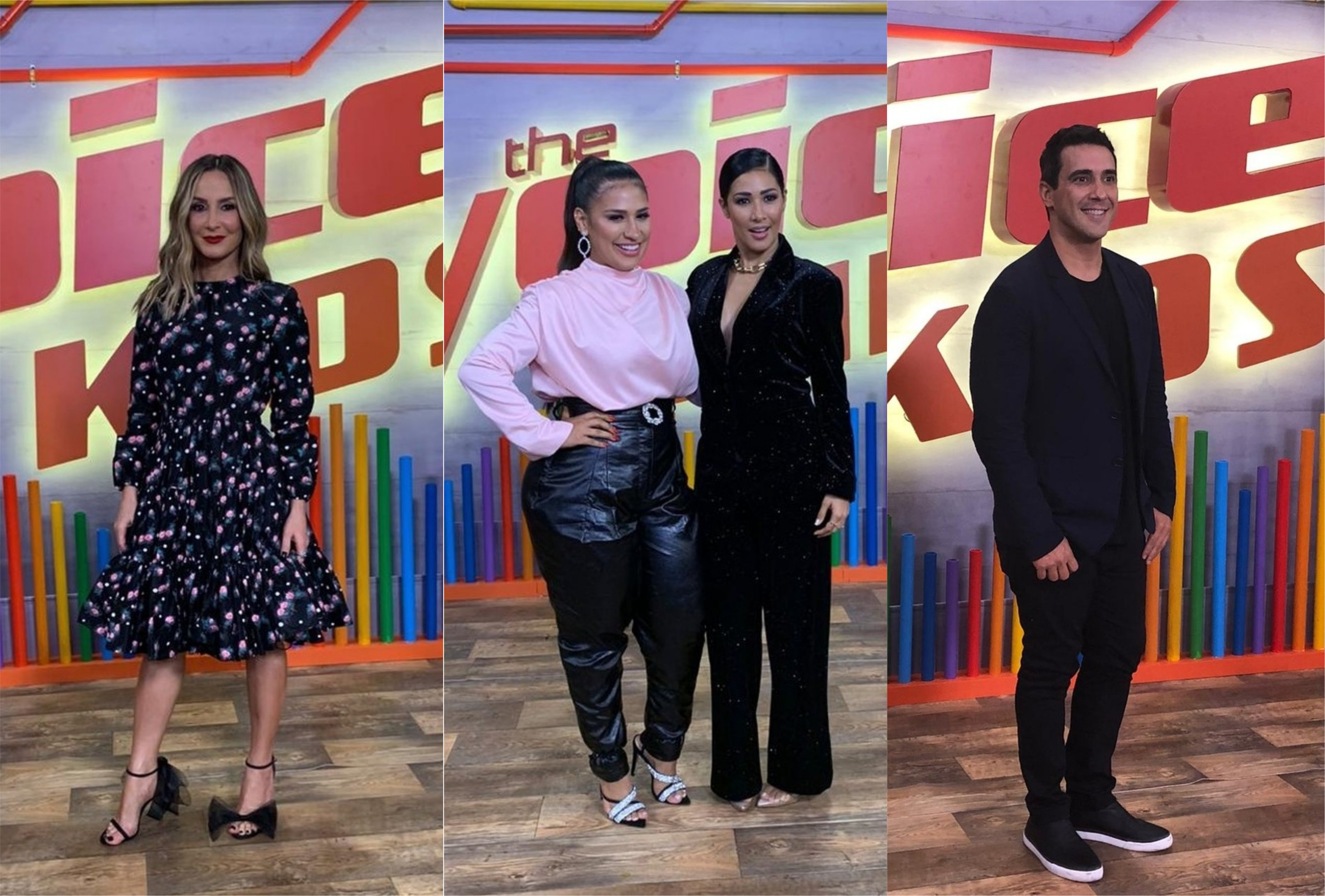 Claudia Leitte, André Marques e Simone e Simaria durante a coletiva do The Voice Kids na Globo (Foto: Montagem/TV Foco)