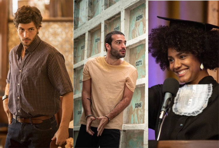 Danilo (Chay Suede), Sandro (Humberto Carrão) e Camila (Jéssica Ellen) em Amor de Mãe da Globo (Foto: Montagem/TV Foco)