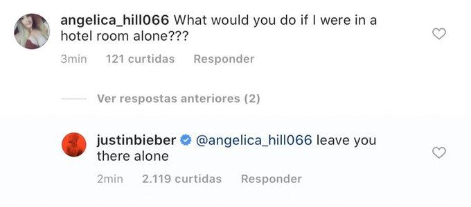 Justin Bieber mostra fidelidade a Hailey Baldwin e responde fã que à provocou sexualmente (Foto: Reprodução)