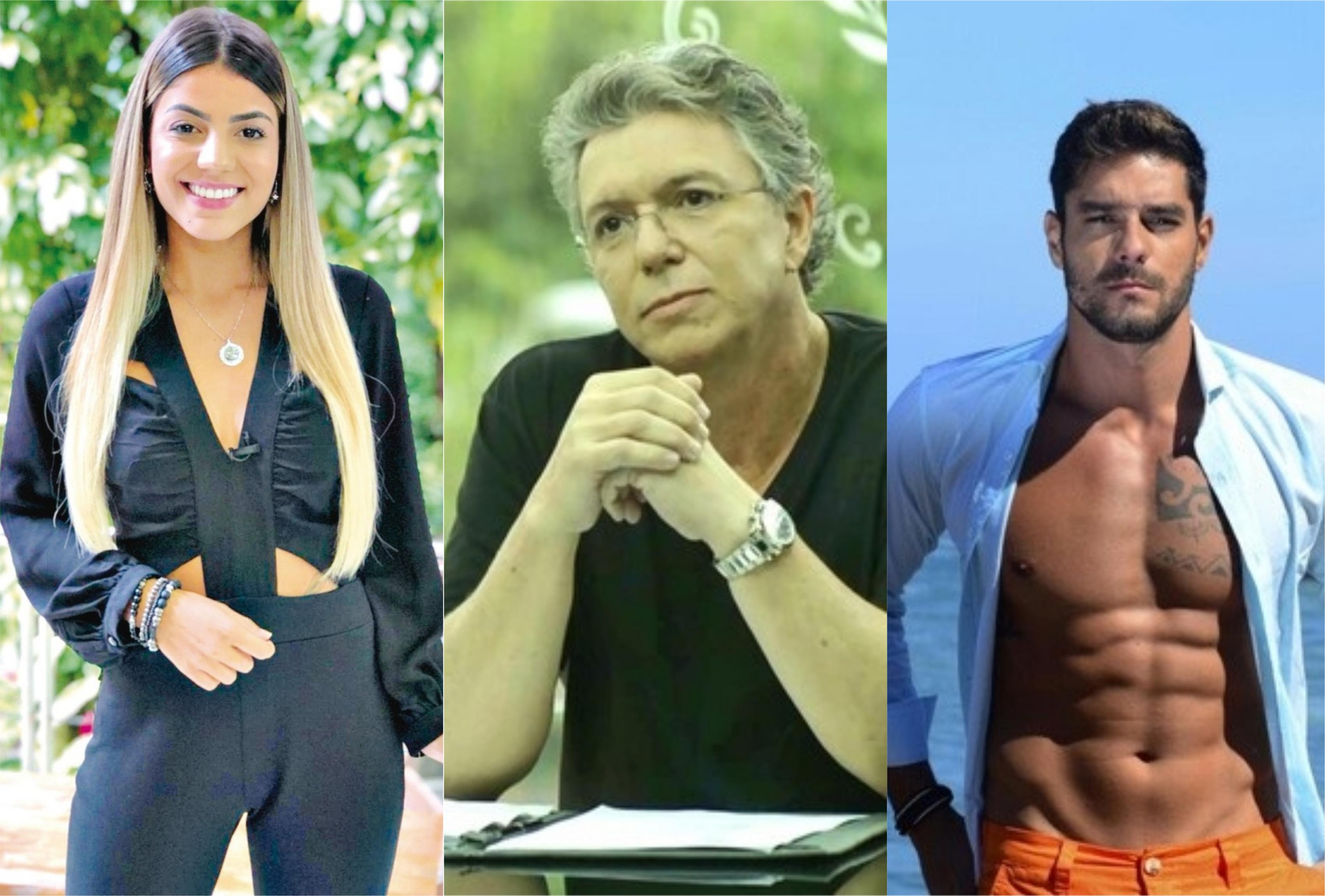 Hariany Almeida e Diego Grossi estão confinados em A Fazenda da Record e falaram de Boninho que é diretor do BBB da Globo (Foto: Montagem/TV Foco)