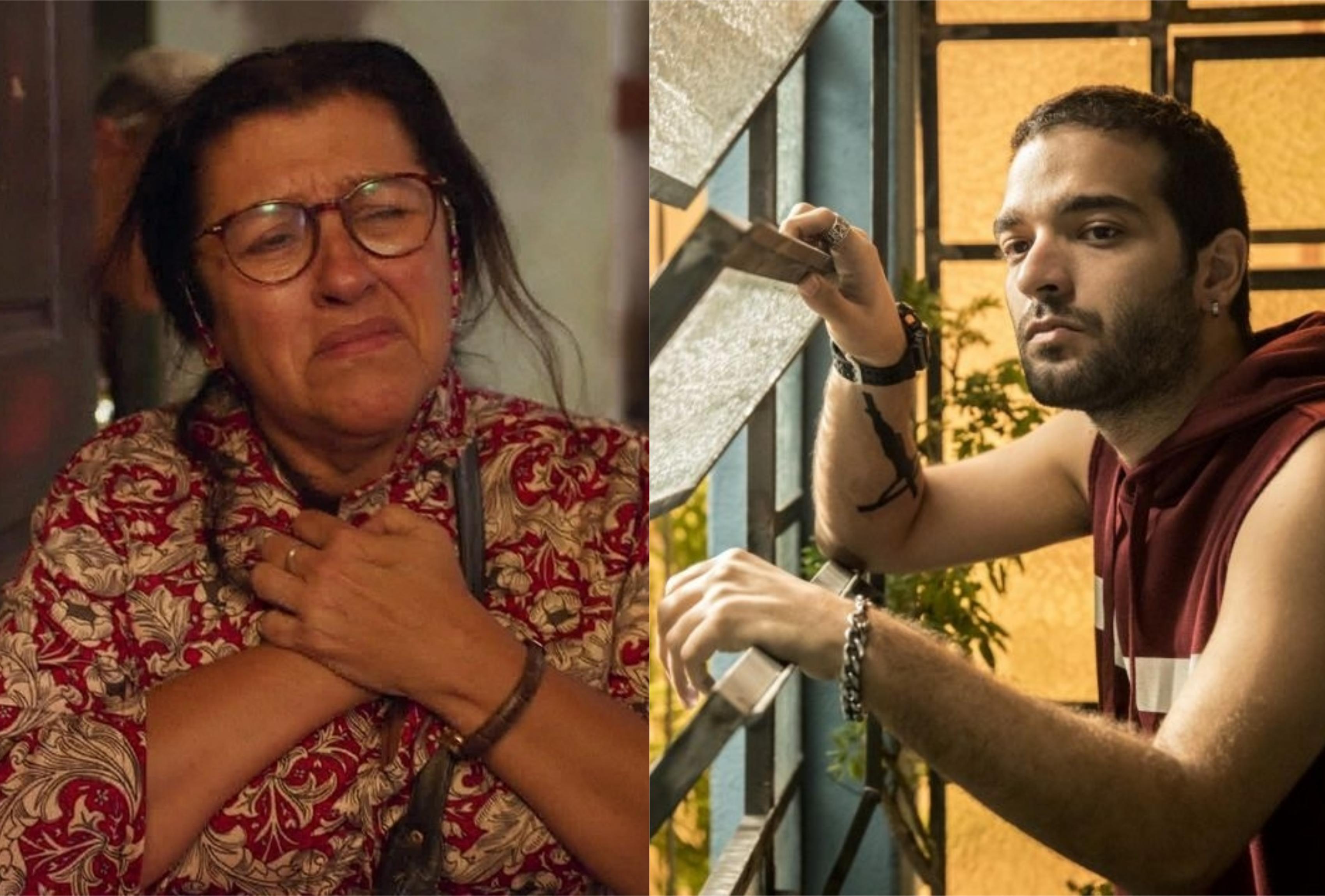 Lurdes (Regina Casé) ajuda Sandro (Humberto Carrão) em Amor de Mãe da Globo (Foto: Montagem/TV Foco)