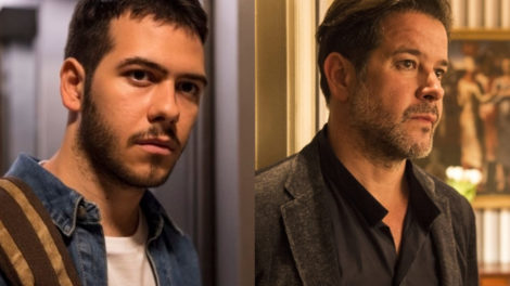 Murilo Benício e Antonio Benício atuam juntos como pai e filho em Amor de Mãe da Globo (Foto: Montagem/TV Foco)