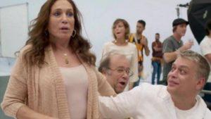 Susana Vieira com Fábio Assunção e Otávio Müller na gravação da vinheta da Globo (Imagem: Instagram)