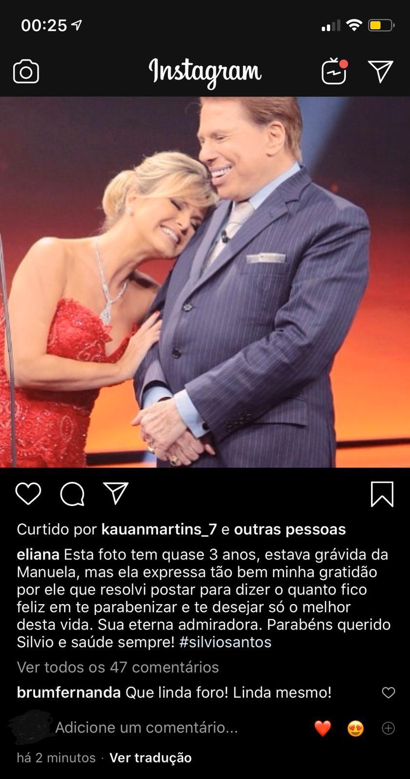 Eliana homenageia Silvio Santos e perde a noção do tempo (Foto: reprodução/Instagram)