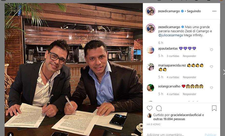 Zezé Di Camargo surge assinando contrato imagem: Instagram)