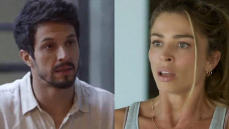 Paloma cai na armadilha de Diogo e flagra Marcos com outra na cama (Montagem: TV Foco)