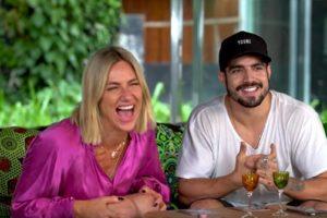 Caio Castro e Giovanna Ewbank se enfrentaram no torta na cara (Foto: Reprodução)