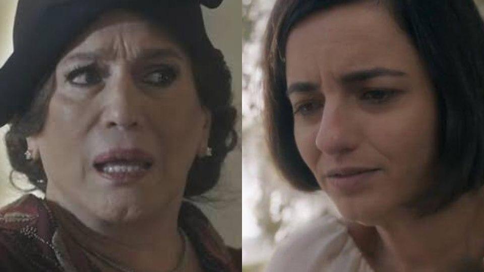 Eramos Seis, Emília ficará assustada os desenhos sinistros de Justina (Montagem: TV Foco)