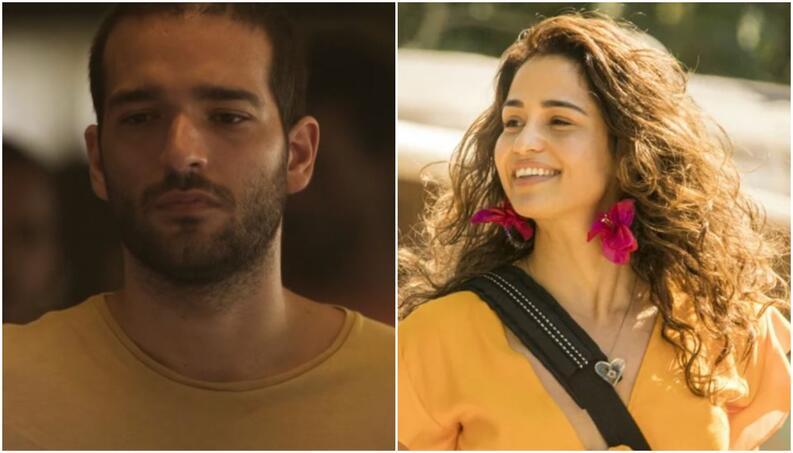 Sandro e Érica na novela das 19h da Globo, Amor de Mãe (Foto: Montagem)