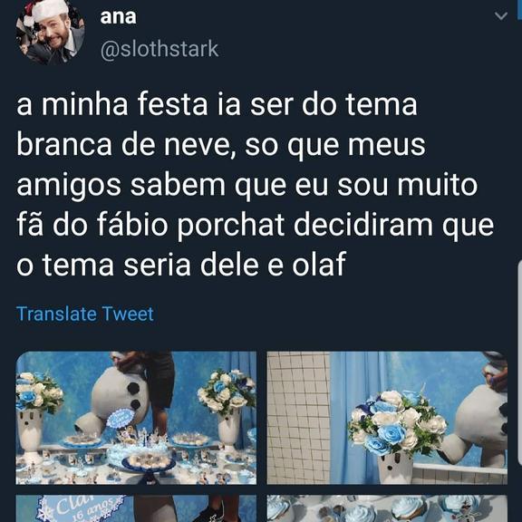 Fábio Porchat foi tema de festa de aniversário de fã junto de personagem da Disney e encantou os internautas (Foto: Reprodução)