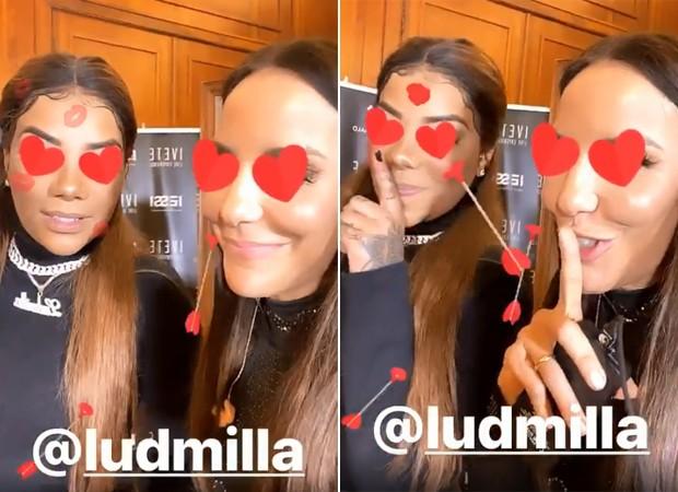 Ivete Sangalo e Ludmilla se encontraram nos bastidores de um show e posaram juntinhas (Foto: Reprodução/ Instagram)