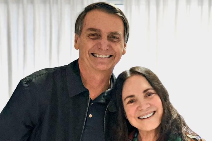 O presidente Jair Bolsonaro e a atriz Regina Duarte (Foto: Reprodução)