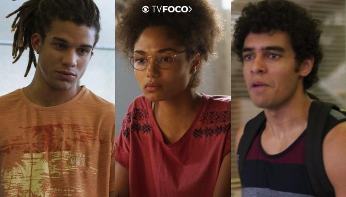 Fotomonagem do TV Foco dos personagens Waguinho, Alice e Luan sérios e tensos de Bom Sucesso