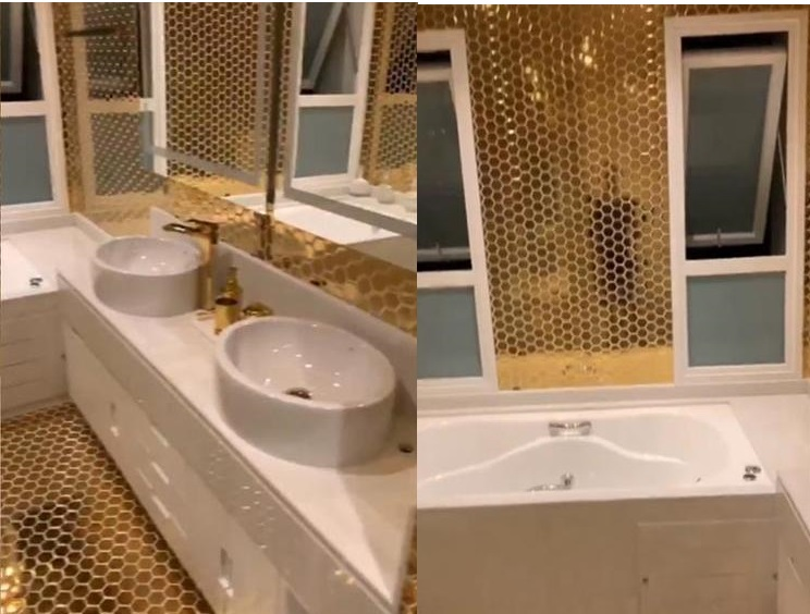Banheiro dourado do MC Livinho (Foto: Reprodução/ Instagram)
