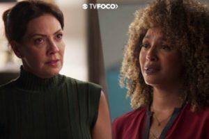 Fotomontagem do TV Foco das personagens Nana indignada e Gisele chorosa de Bom Sucesso