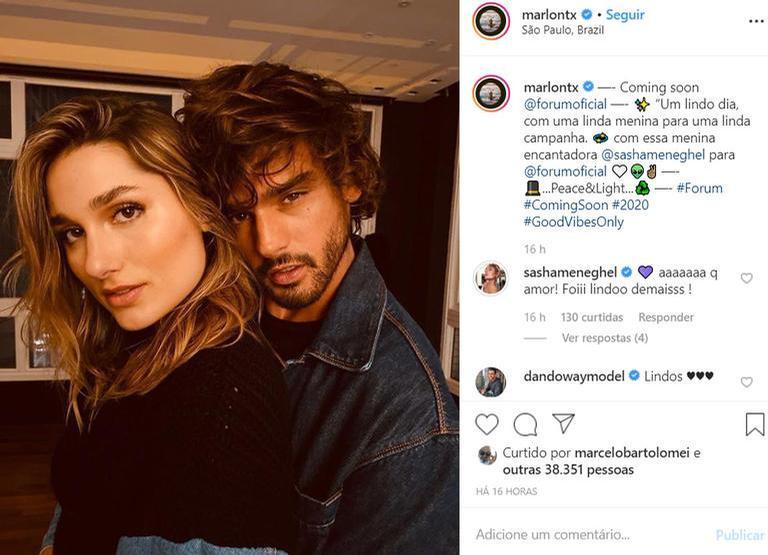 Sasha Meneghel surpreende internautas com clique ao lado de Marlon Teixeira. (Divulgação/Instagram)