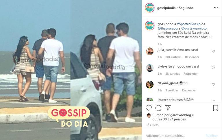 Após fim do namoro, Thaynara OG e Gustavo Mioto foram flagrados em São Luís (Foto: Reprodução)