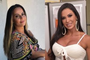 A famosa musa fitness Gracyanne Barbosa ficou em saia justa após ter áudio vazado falando sobre a atriz da Globo Viviane Araújo (Foto: Montagem TV Foco)