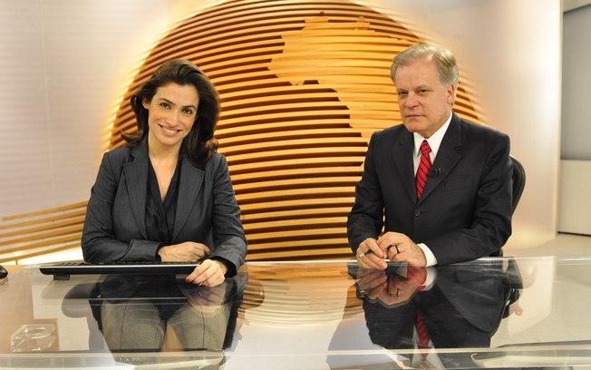 A apresentadora do Jornal Nacional, da Globo, no Bom dia Brasil ao lado de Chico Pinheiro (Foto: Reprodução/Globoplay)