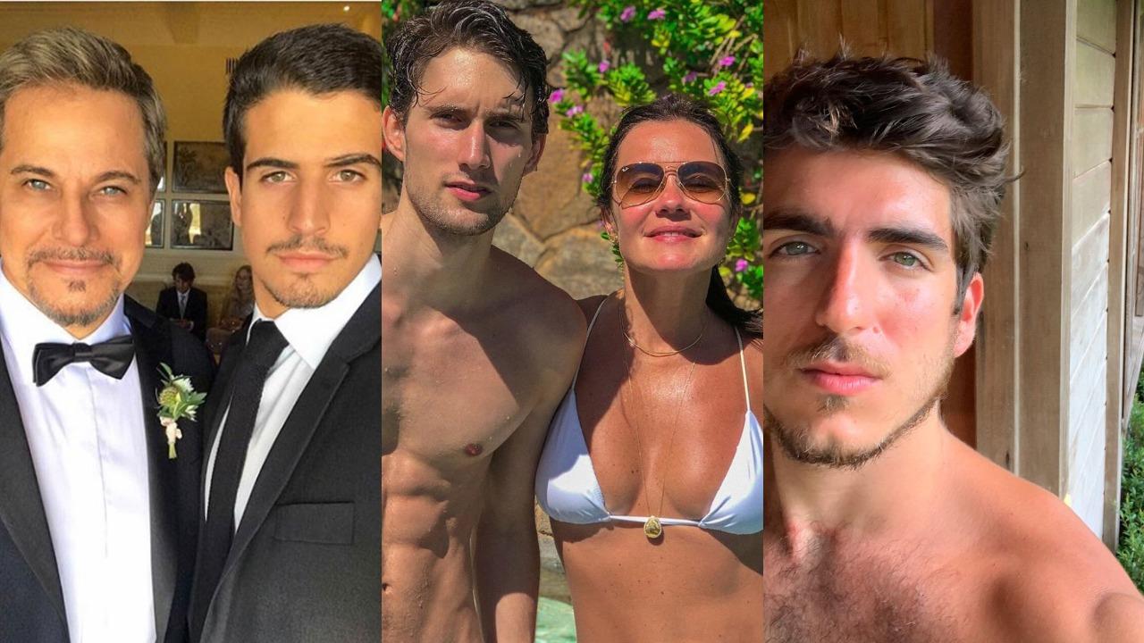Enzo Celulari com o pai, Edson Celulari, Adriana Esteves e Felipe Ricca e João Mader Bellotto (Foto: Reprodução/Instagram/Montagem TV Foco)