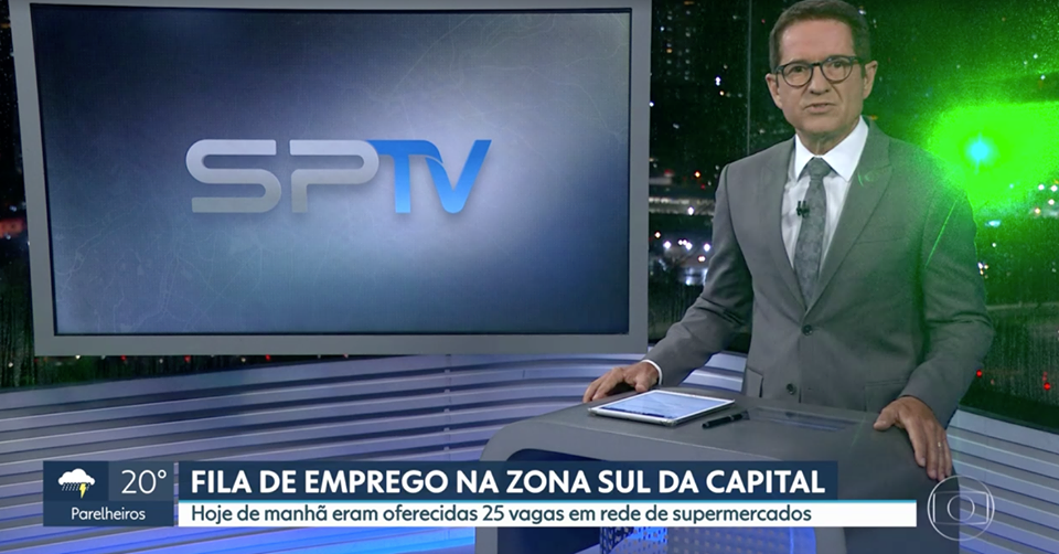 O estúdio do SPTV - 2ª Edição foi atingido por luz de laser (Foto: Reprodução/Globoplay) Globo