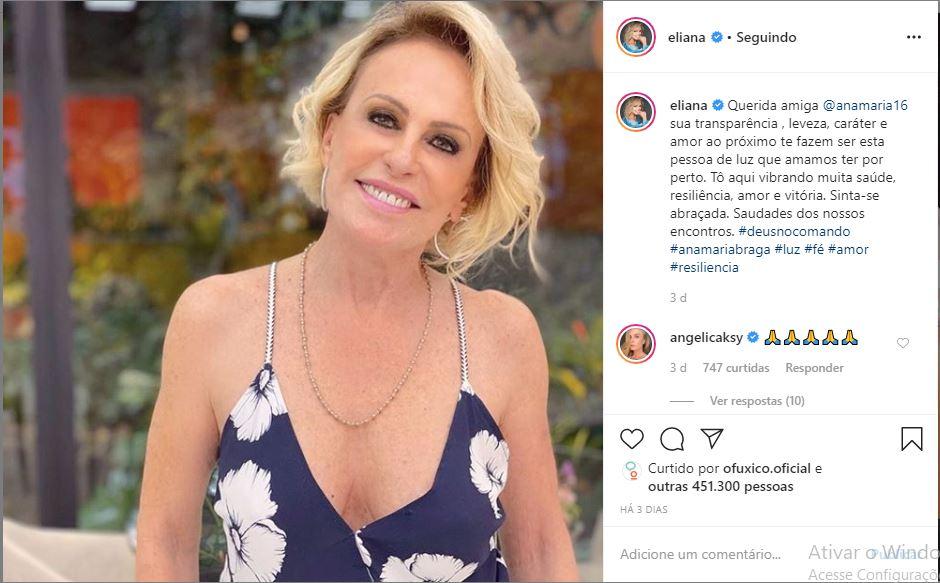 Eliana desejou uma boa recuperação para Ana Maria Braga