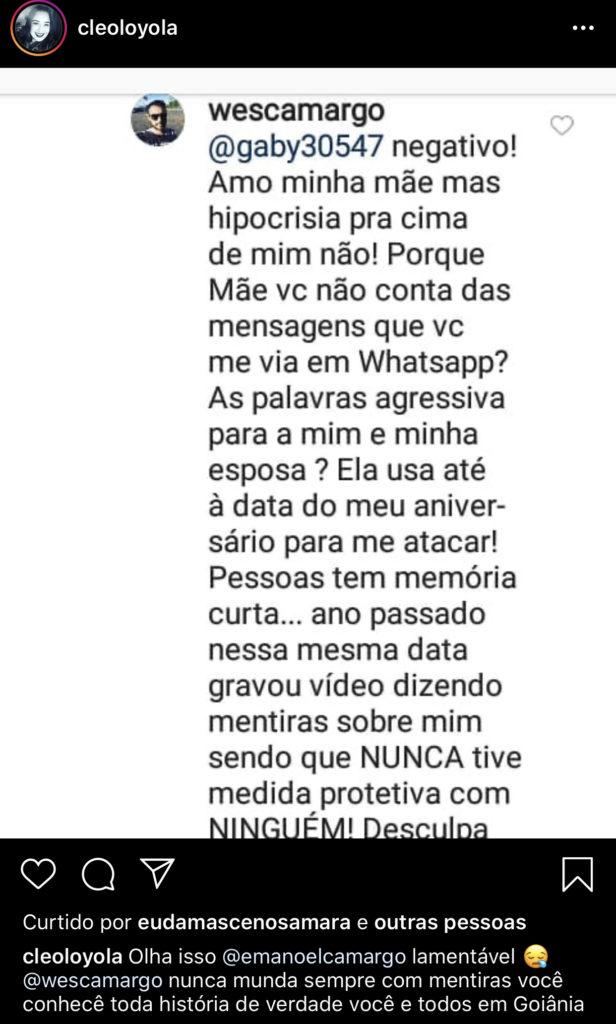 Cleo Loyola, ex de Luciano Camargo, mostrou nas redes sociais, comentário do filho sobre ela (Foto reprodução)